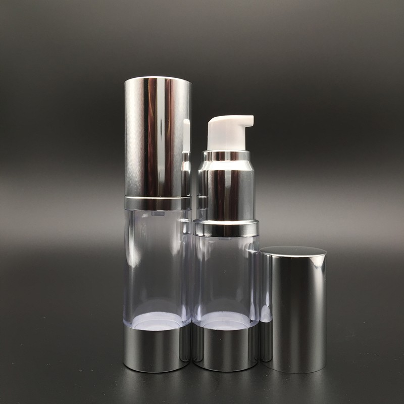 10ml Clear & Shiny Silver Airless Pump