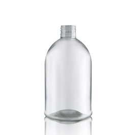 500ml Clear PET Boston Bottle unfitted - squat