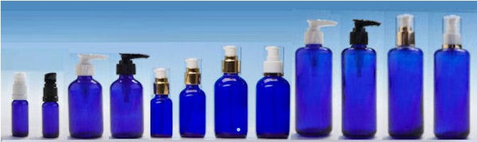 Blue Round Glass Bottles with Lotion Pumps