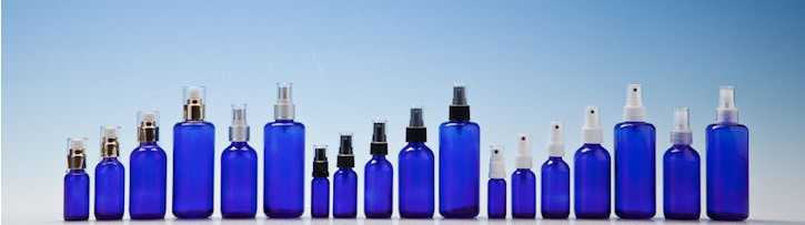Blue Round Glass Bottles with Mist Sprays
