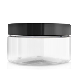 Clear Cosmetic Pot, Black Lid, 200 gm