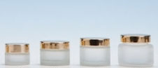 Frosted Glass Cosmetic Pot & Gold lid