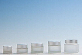 Frosted Glass Cosmetic Pot & Matt Aluminium lid
