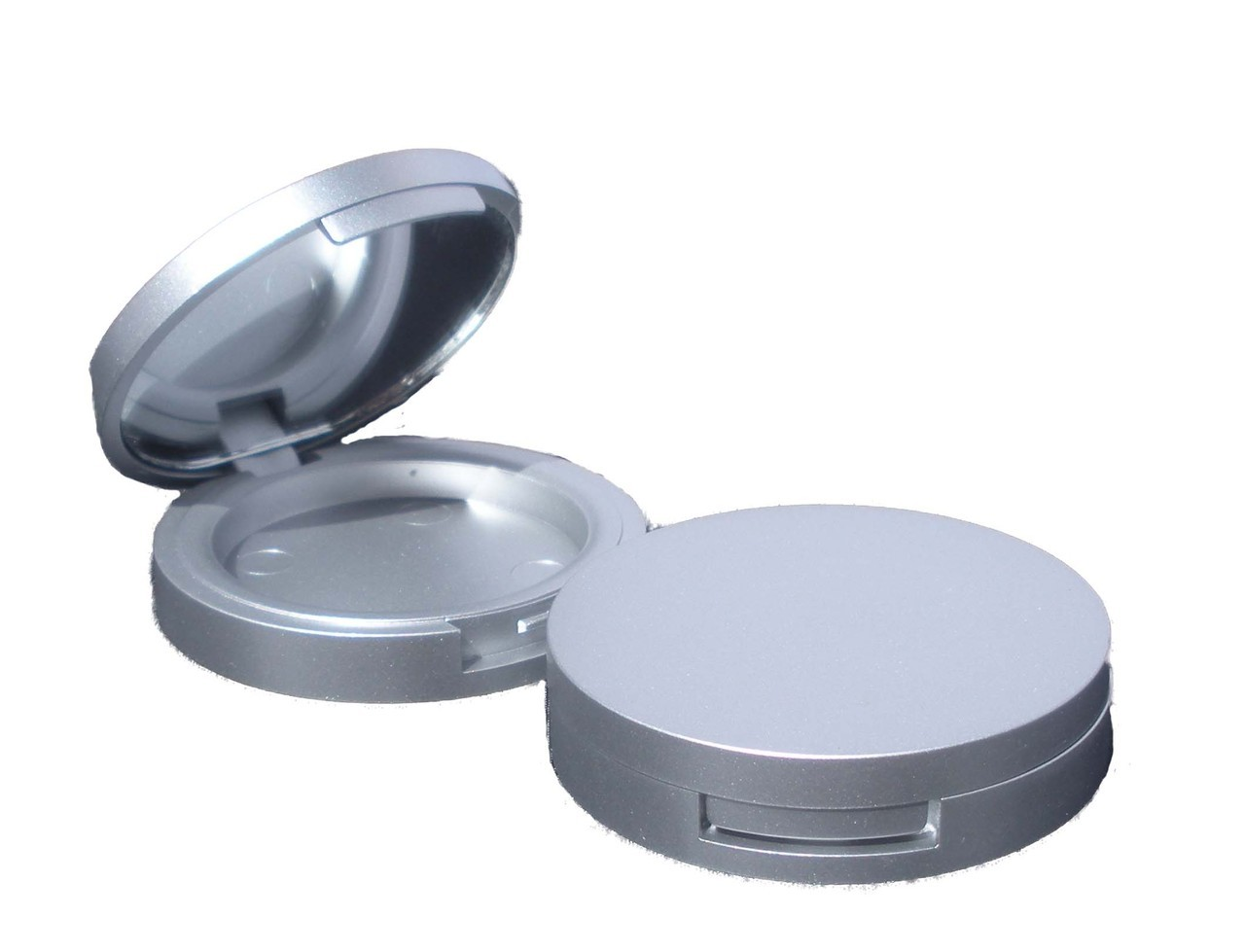 Round Matt Silver Blush Compact 37mm (Indent)