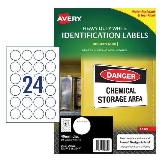 Heavy Duty Vinyl Laser Label - A4 Sheet 24 Round
